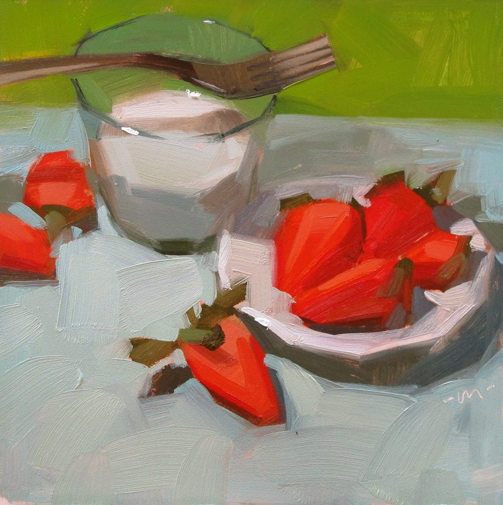 """Strawberries and Milk"" original fine art by Carol Marine"