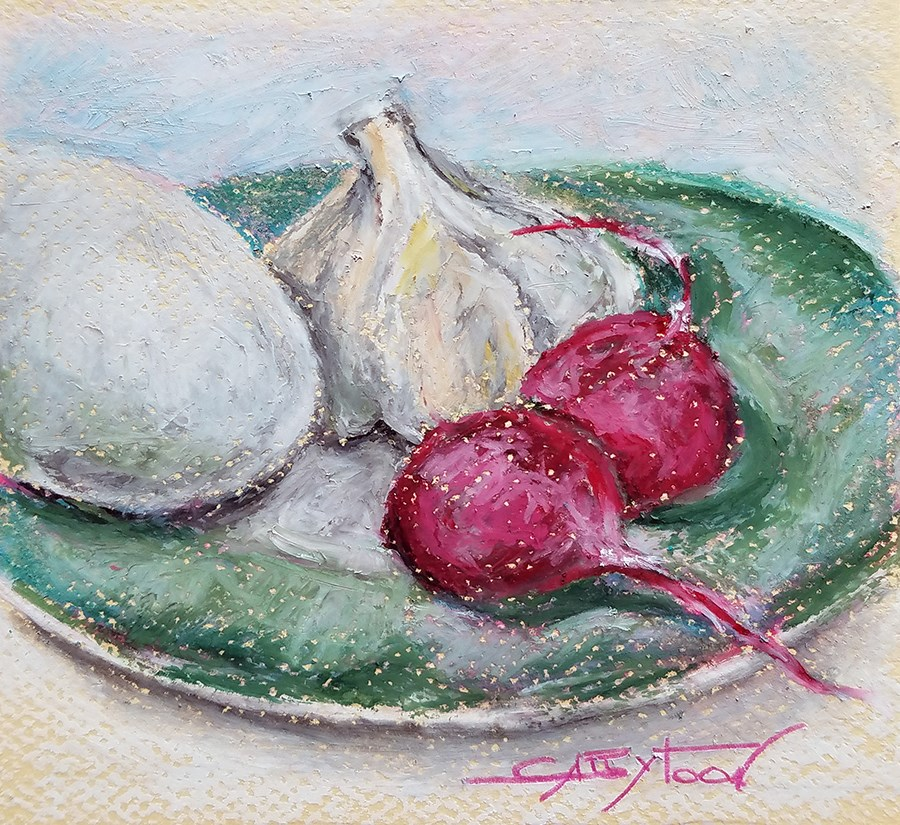 """Egg, Garlic and Redises"" original fine art by Gabriella DeLamater"