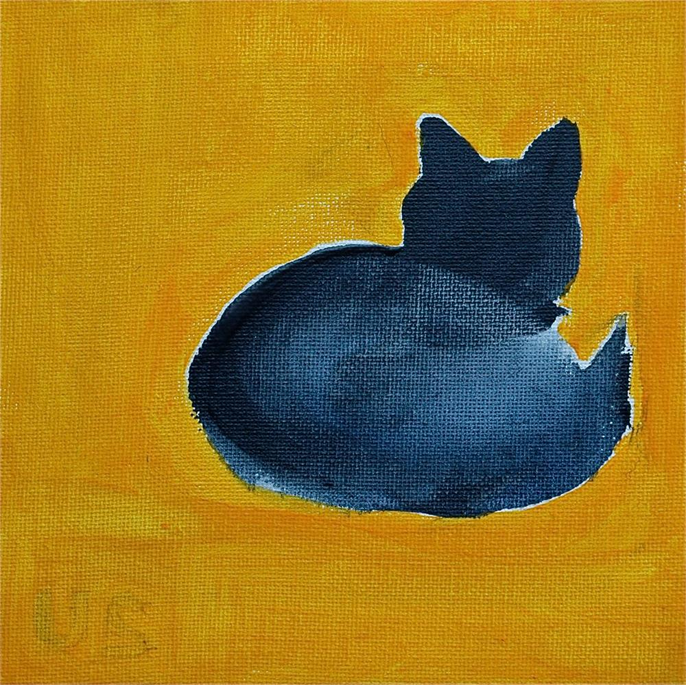 """Grey-blue cat (Yellow background)"" original fine art by Ulrike Schmidt"