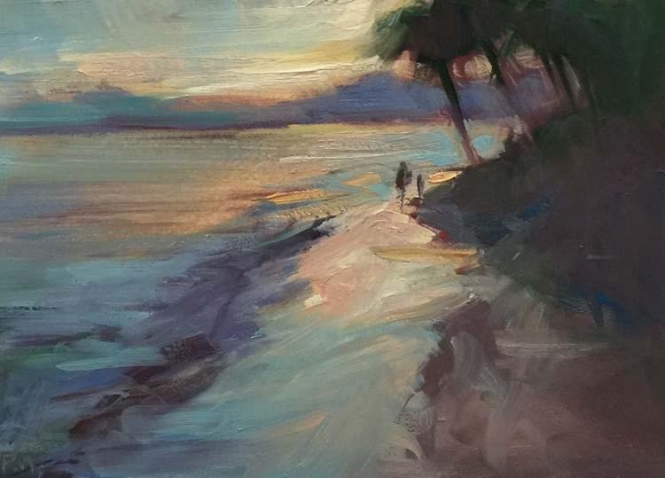 """Mai Tai Sunset on Kahala Beach"" original fine art by Patti McNutt"