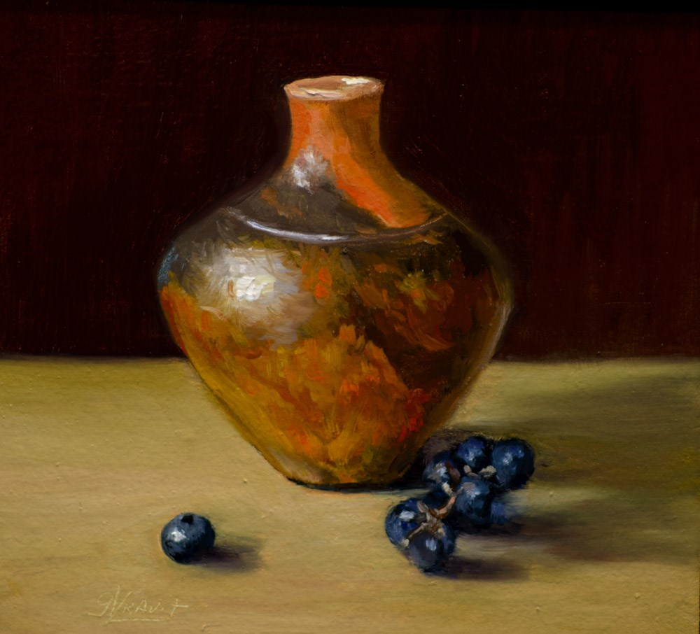 """Rollins Pottery, Concord Grapes and a Blueberry"" original fine art by Garry Kravit"