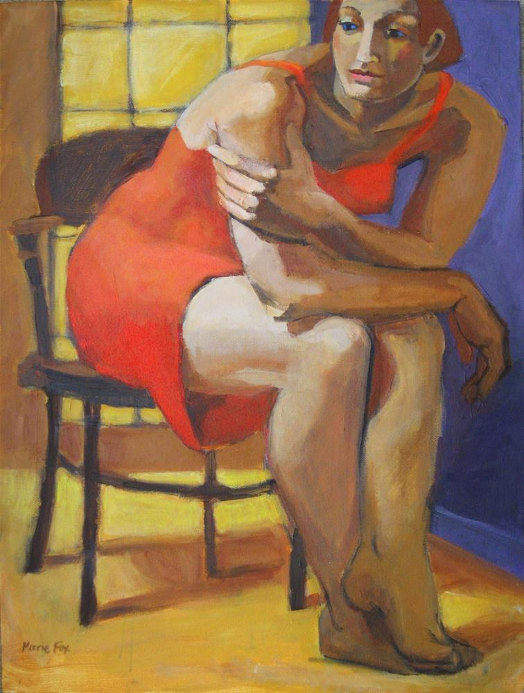 """Quiet Moment, Figurative painting, woman, figure study, contemporary figure painting, figurative art"" original fine art by Marie Fox"