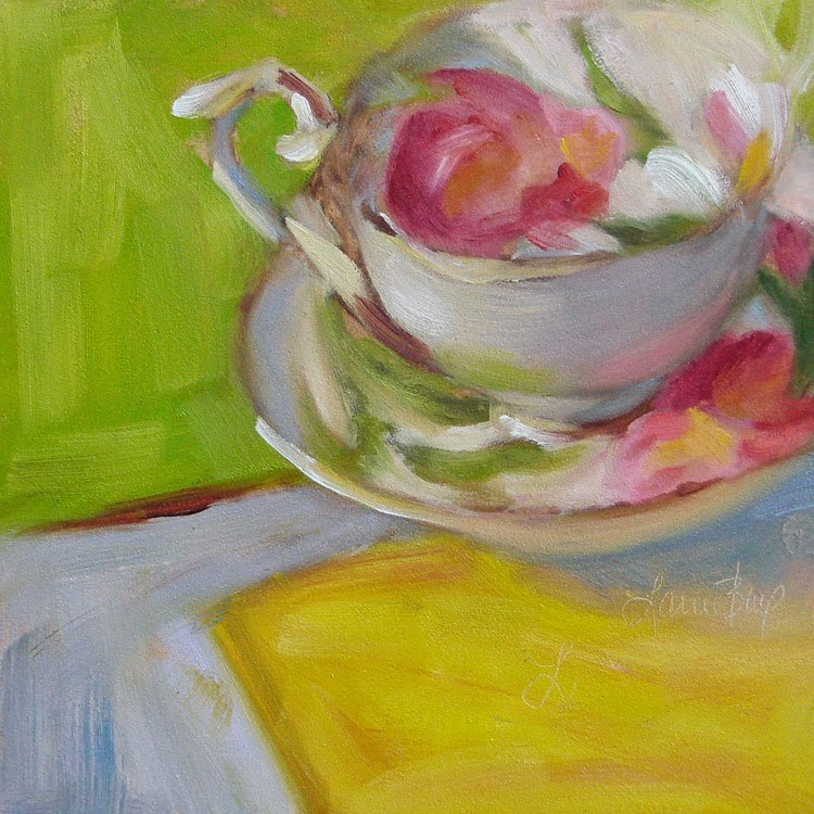 """Mom's Tulip Teacup - 326"" original fine art by Laura  Buxo"