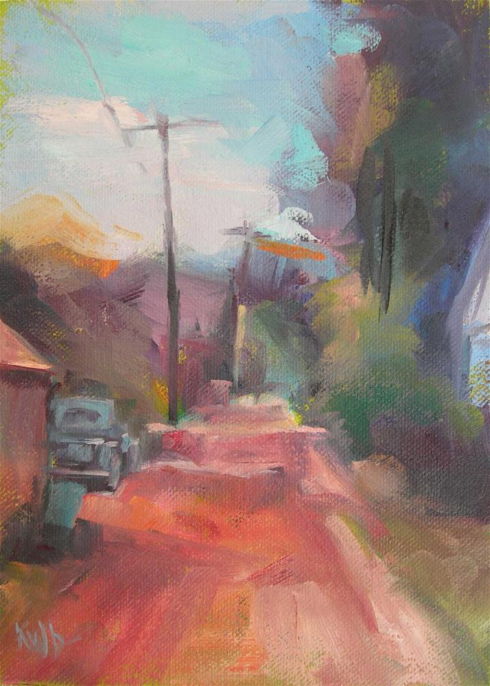 """Pink Road - Boise"" original fine art by Katie Wilson"