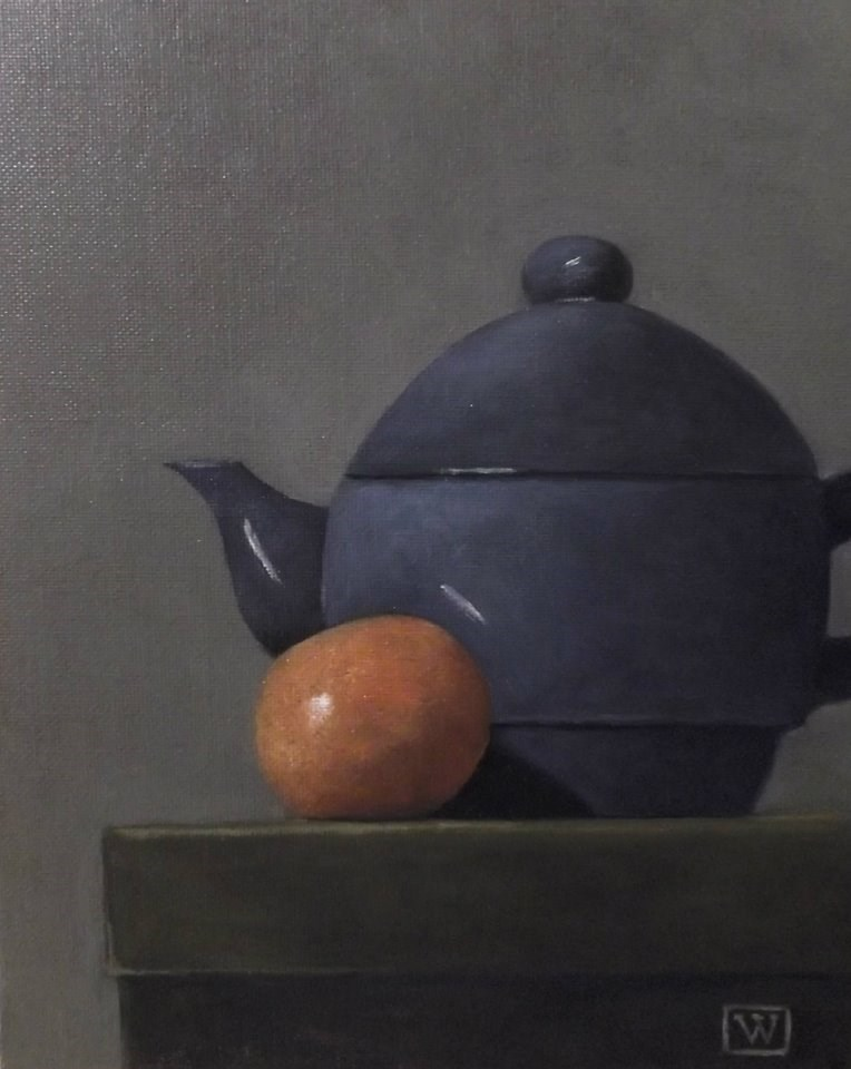 """""""Teapot and clemintine"""" original fine art by Joe Wojdakowski"""