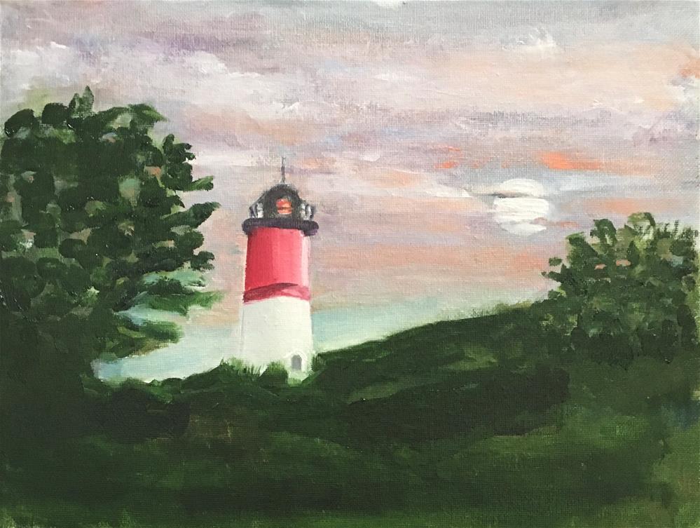 """Nauset Light Moonrise"" original fine art by Patty Barnes"