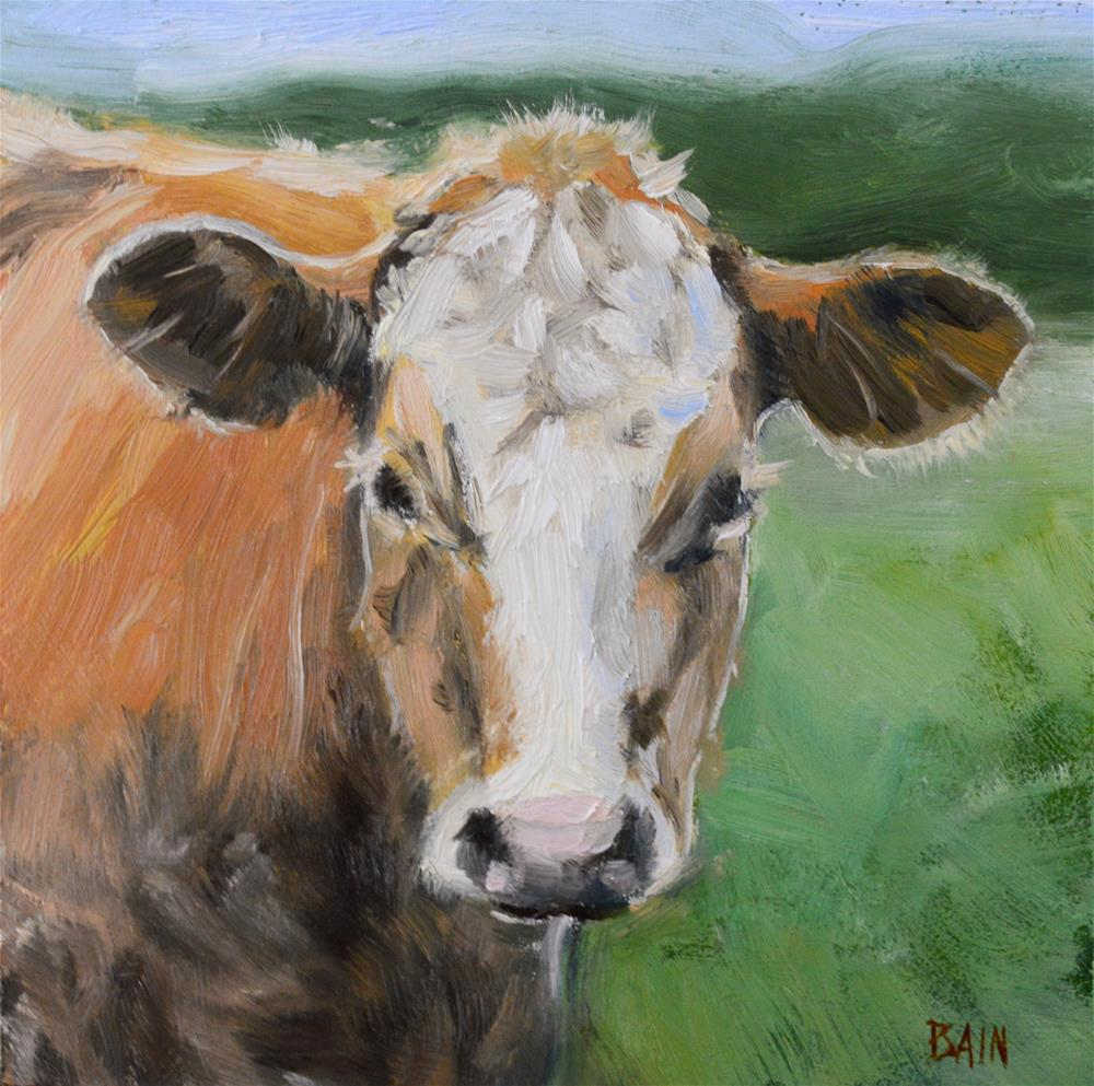 """Cow no. 7"" original fine art by Peter Bain"