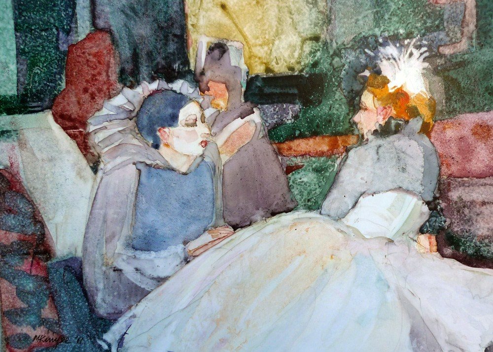 """'Pierrot in conversation'"" original fine art by Myriam Kin-Yee"