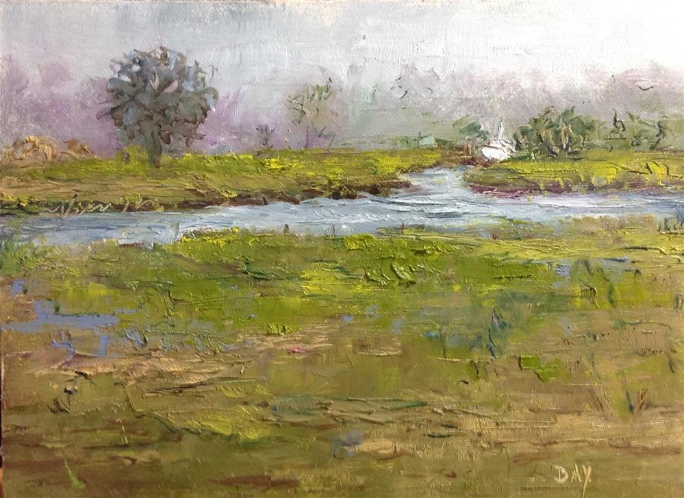"""Boat   - edisto island  marsh"" original fine art by barbara yongue"