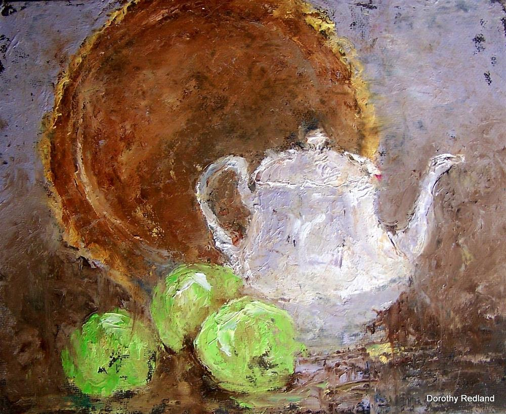 """Granny smith apples with Granny's teapot"" original fine art by Dorothy Redland"
