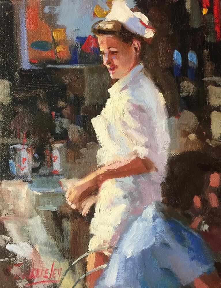 """South Beach Waitress"" original fine art by Nancy Tankersley"