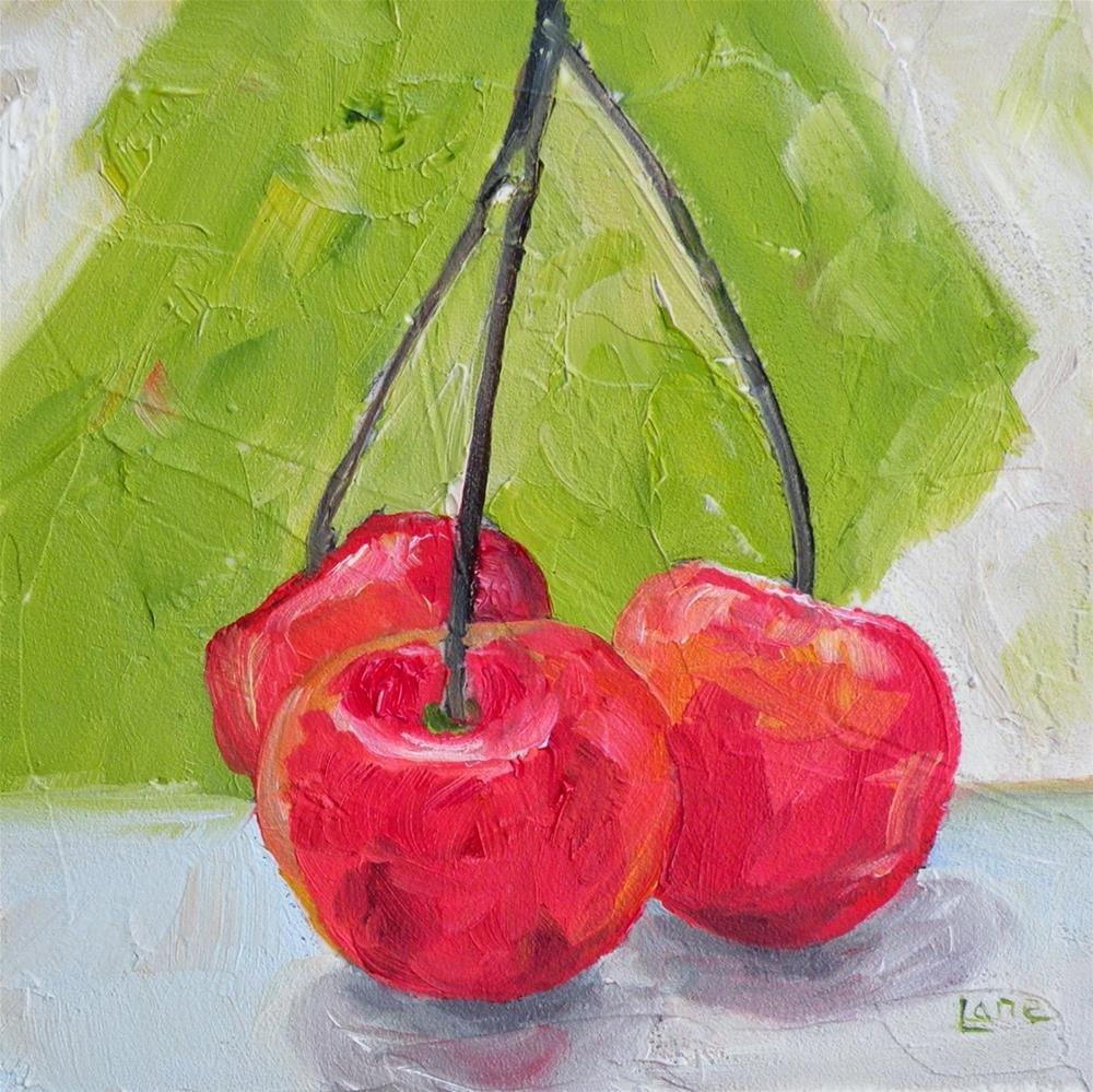 """3 CHERRIES ORIGINAL 4X4 OIL ON PANEL IN MY ETSY SHOP © SAUNDRA LANE GALLOWAY and HAPPY 3RD B"" original fine art by Saundra Lane Galloway"
