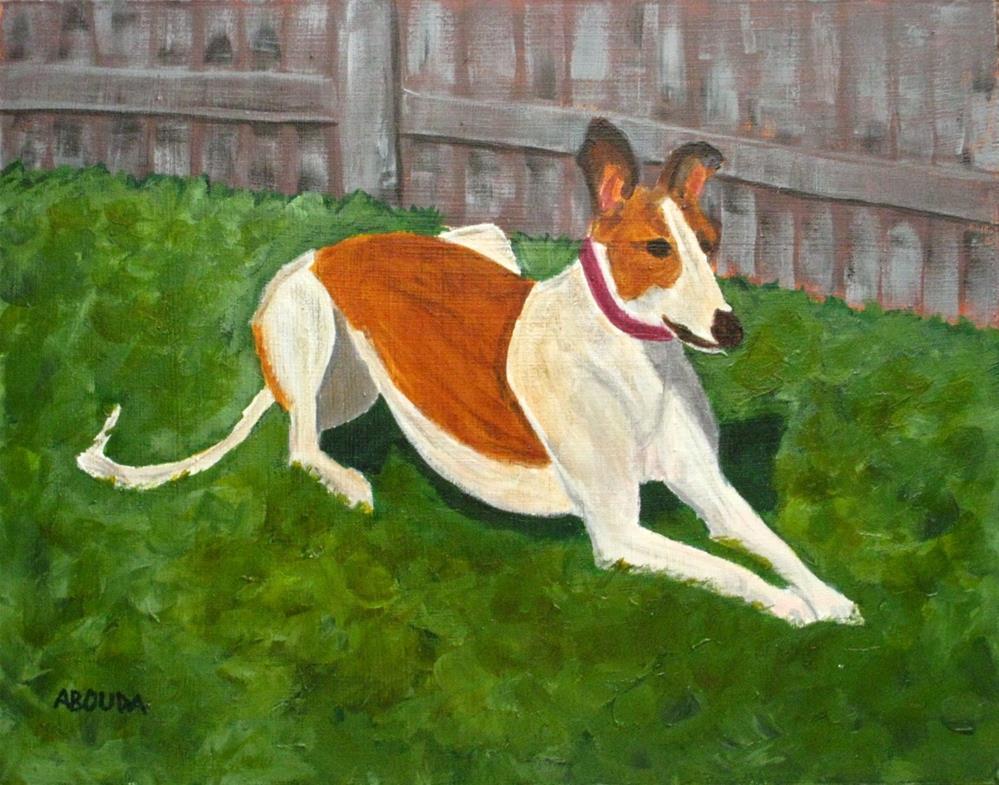 """Red and White Greyhound"" original fine art by Sandy Abouda"