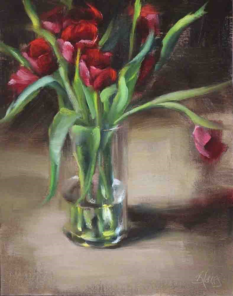 """Red Tulip Bouquet"" original fine art by Pamela Blaies"