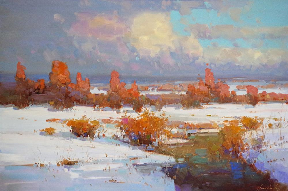 """Landscape, Winter, Original oil Painting, Large size handmade art, One of a Kind"" original fine art by V Y"