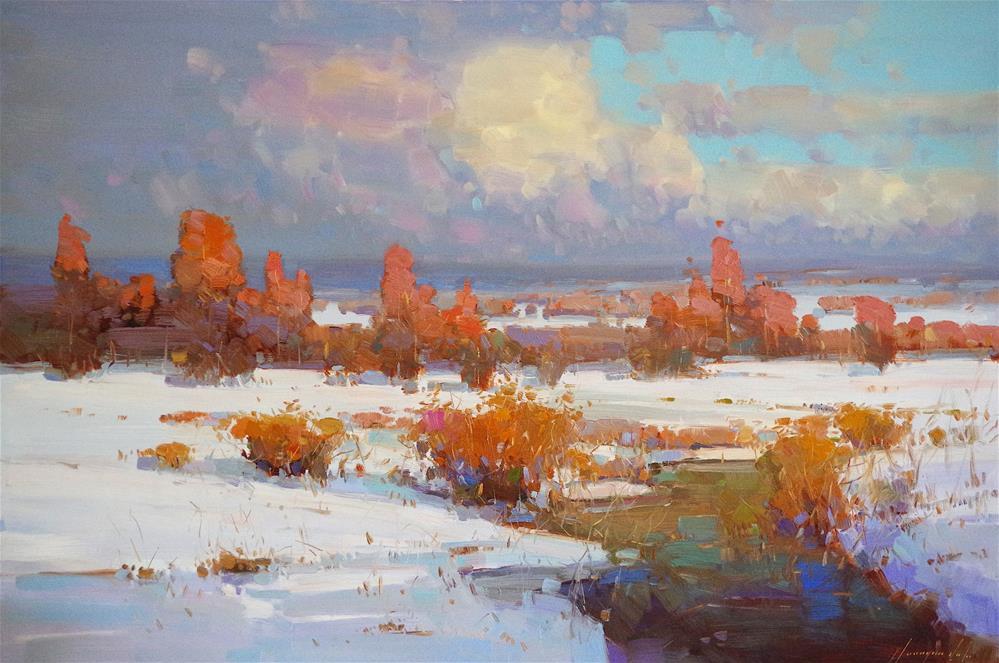 """Landscape, Winter, Original oil Painting, Large size handmade art, One of a Kind"" original fine art by V Yeremyan"