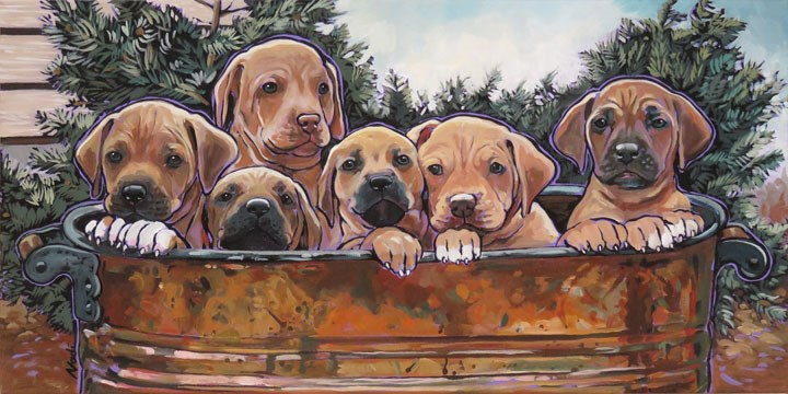 """Rhodesian Ridgeback Puppies"" original fine art by Nadi Spencer"