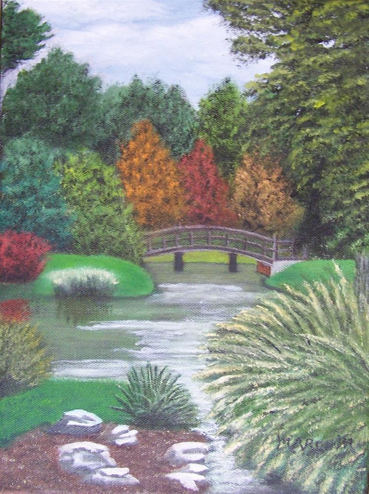"""Shaw's Garden Bridge #2"" original fine art by John Marcum"