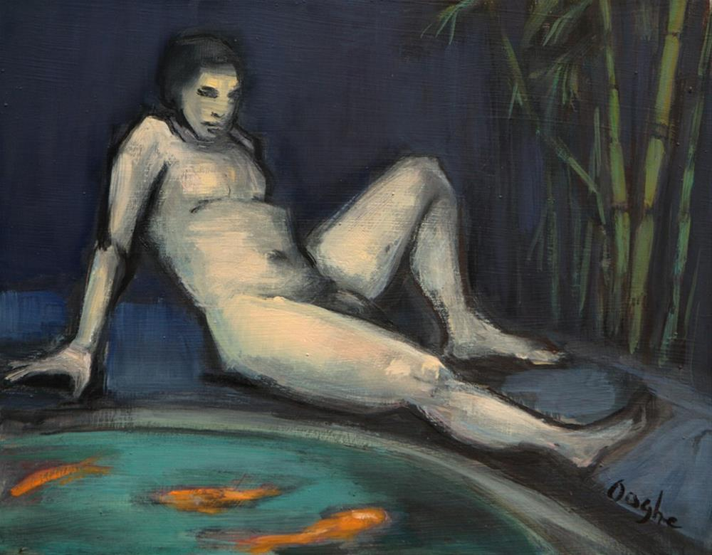 """Nude by Koi Pond"" original fine art by Angela Ooghe"