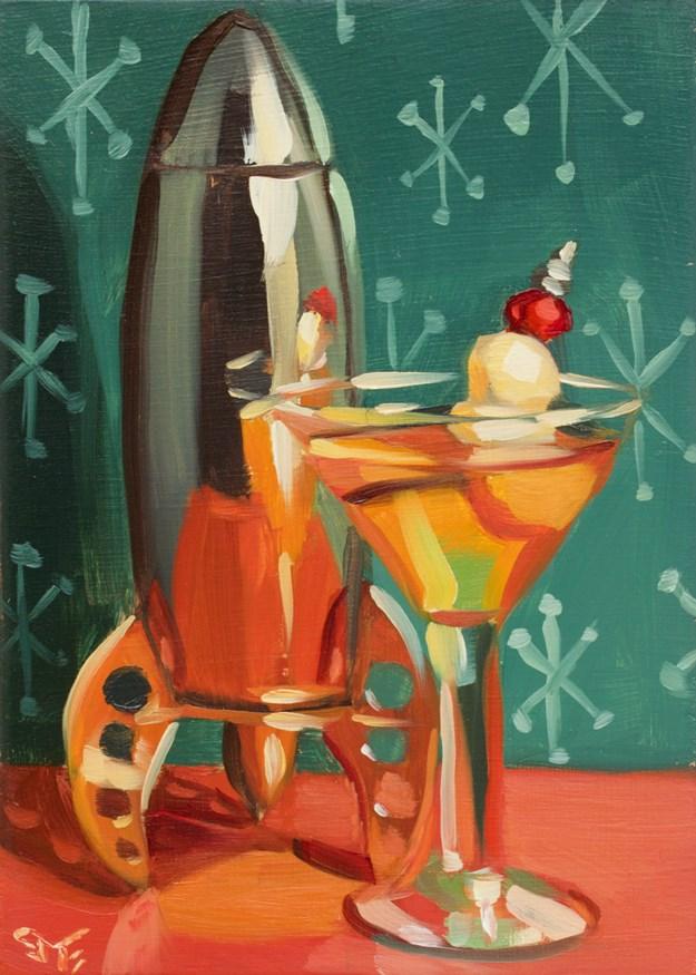 """Mid Mod Moon"" original fine art by Sheila Evans"