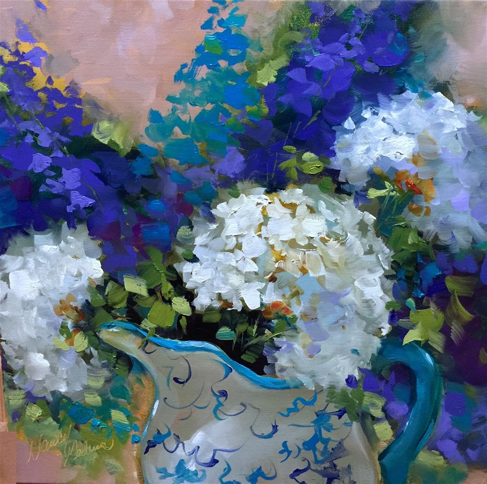 """Sun Washed Hydrangeas and a North Texas Demo - Nancy Medina Art Videos and Classes"" original fine art by Nancy Medina"