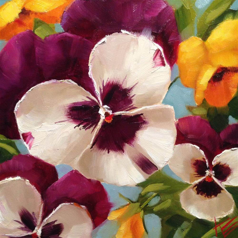 """Pansies on Kings Blue"" original fine art by Krista Eaton"