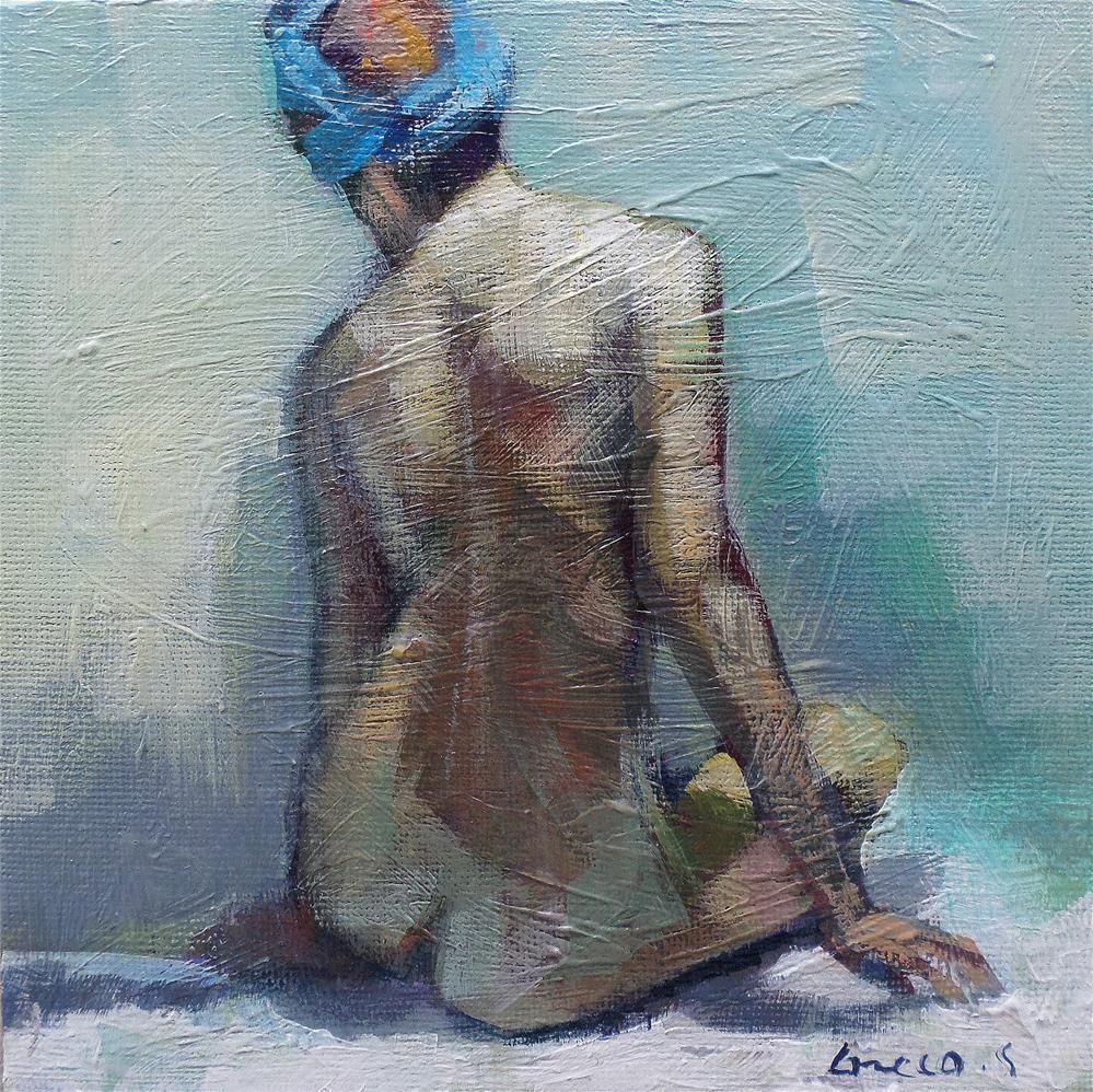"""Bare blue headband"" original fine art by salvatore greco"