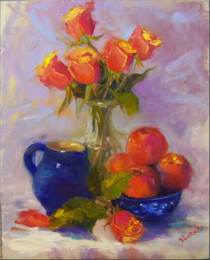 """Peaches and Cream, 16x20, oil on linen, paintings of fruit, roses, peaches, blue, award-winning ar"" original fine art by Maryanne Jacobsen"