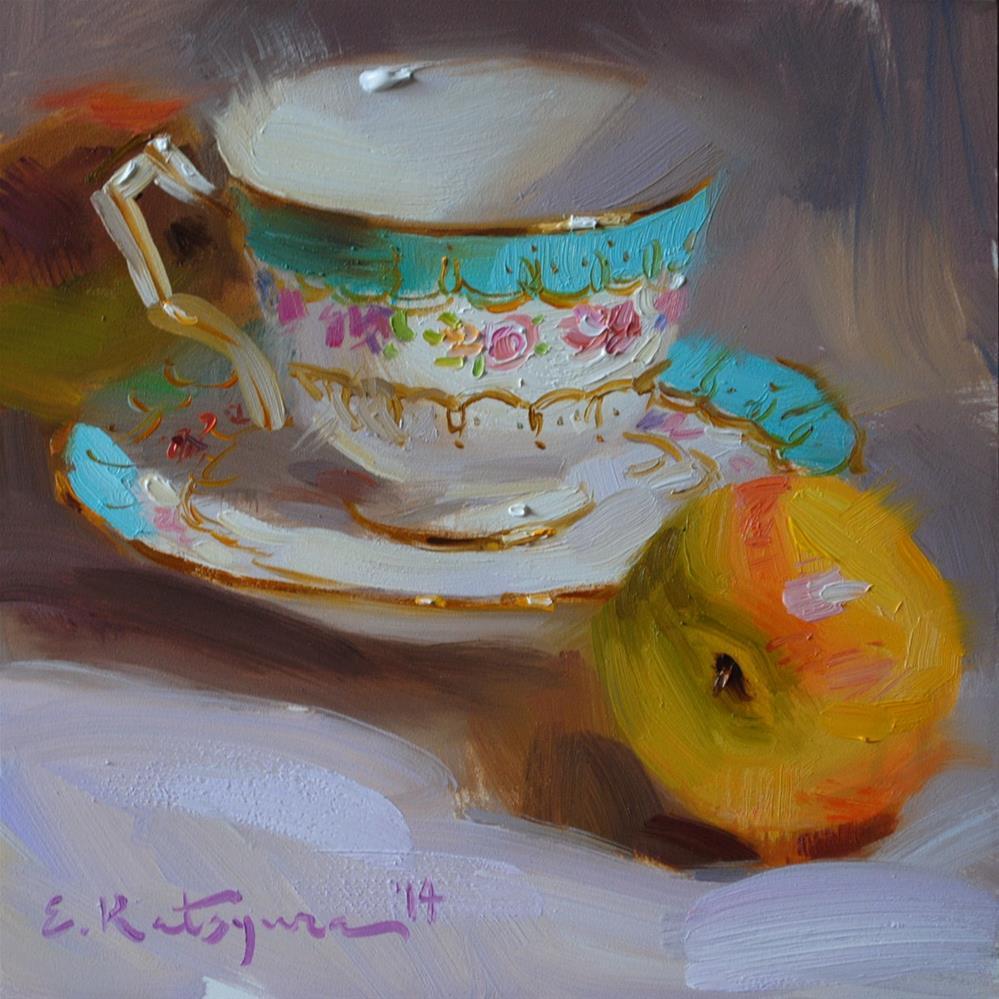 """Teacup and Nectarine"" original fine art by Elena Katsyura"