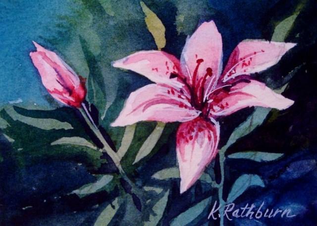"""Pink Lily"" original fine art by Kathy Los-Rathburn"