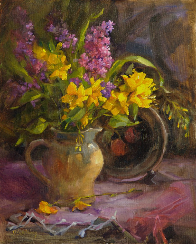 """Crocosmia and Butterfly Bush"" original fine art by Barbara Schilling"