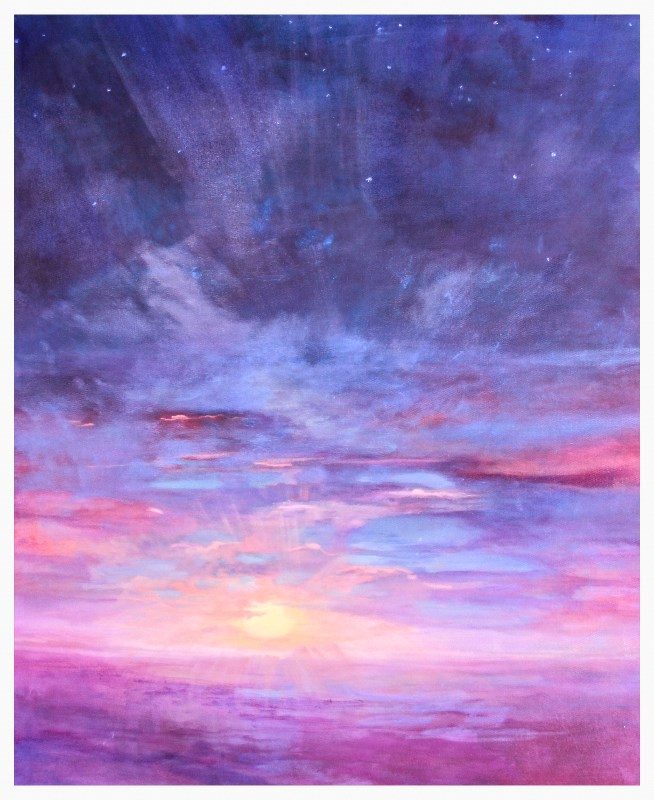 """Contemporary Sunset Landscape Oil Painting, ""Sunset Above the Clouds"" by Colorado Artist Susan Fowle"" original fine art by Susan Fowler"