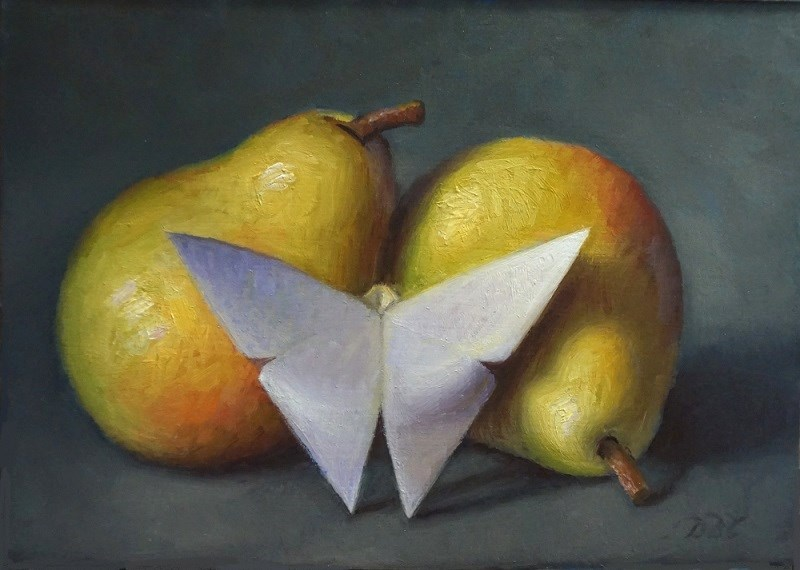 """Pears and Paper Butterfly"" original fine art by Debra Becks Cooper"
