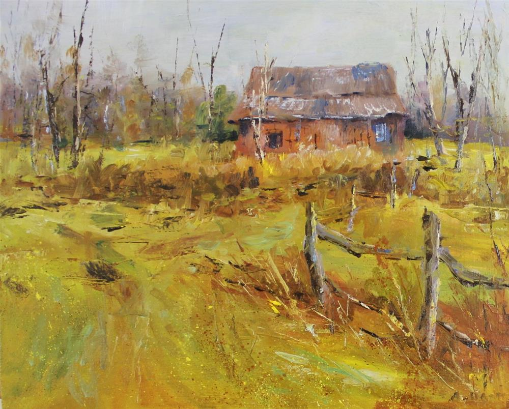 """Original oil painting red barn Midwest landscape"" original fine art by Alice Harpel"