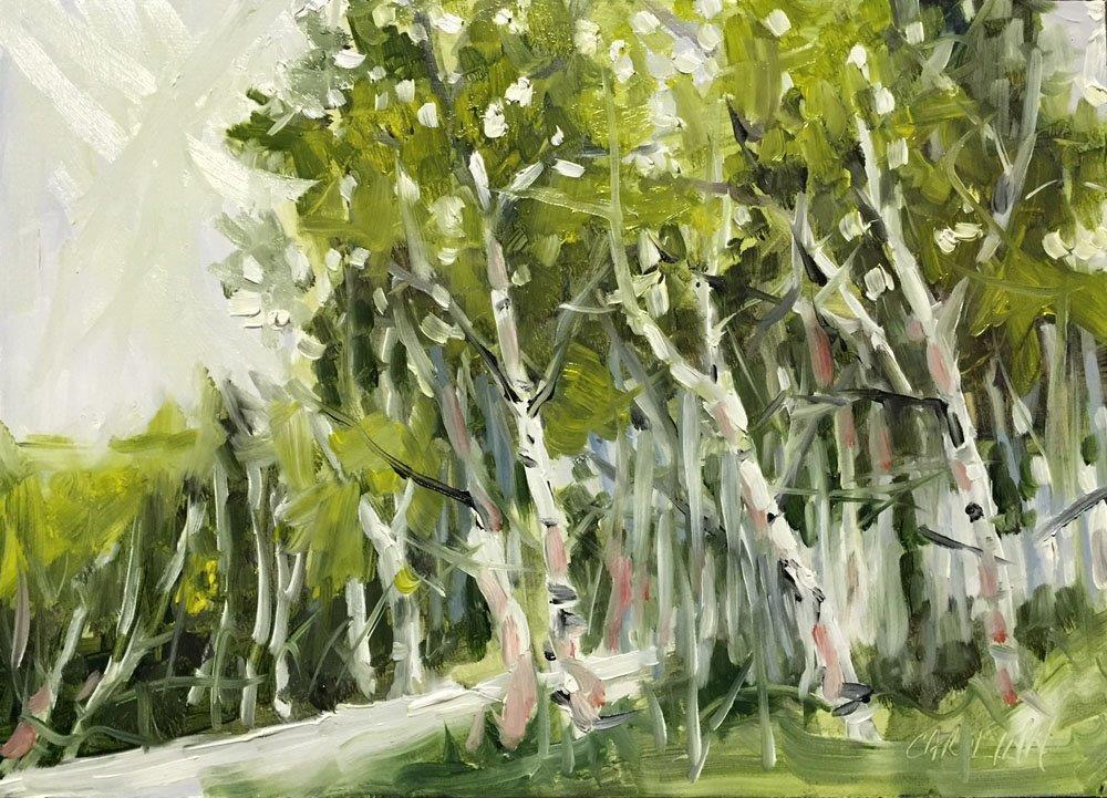 """Birch Stand - 15 Minute Sketch"" original fine art by Carolynn Doan"