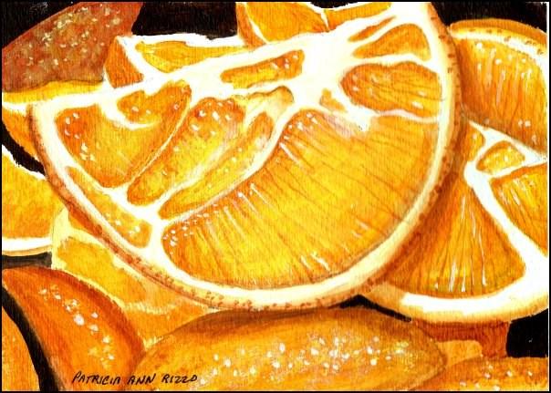 """""""Fresh Orange Slices"""" original fine art by Patricia Ann Rizzo"""