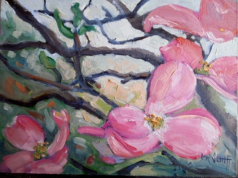 """Dogwood painting, Small oil painting, daily painting, 6x8 Oil"" original fine art by Carol Schiff"