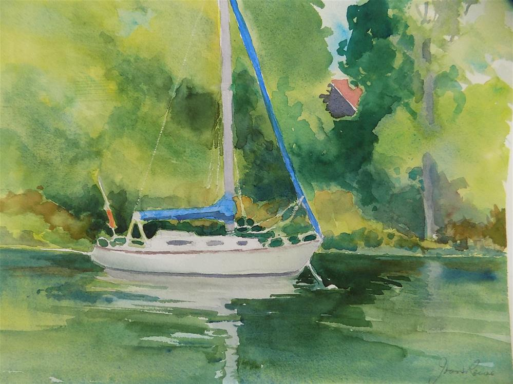 """Anchored Out"" original fine art by Joan Reive"