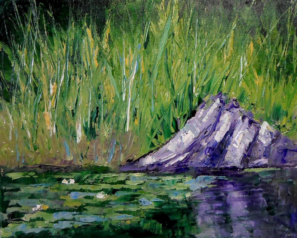 """8 x 10 inch oil Beside the lily pads"" original fine art by Linda Yurgensen"