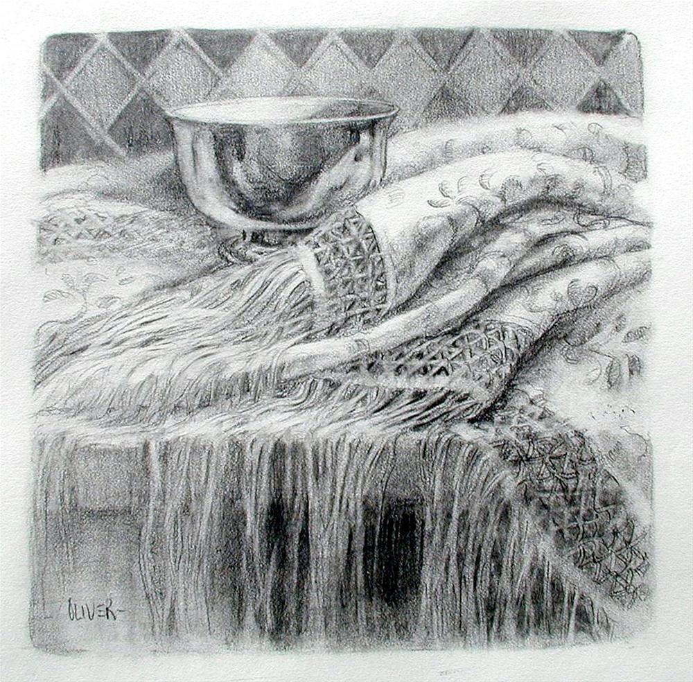 """Shawl and Silver Bowl"" original fine art by Julie Ford Oliver"