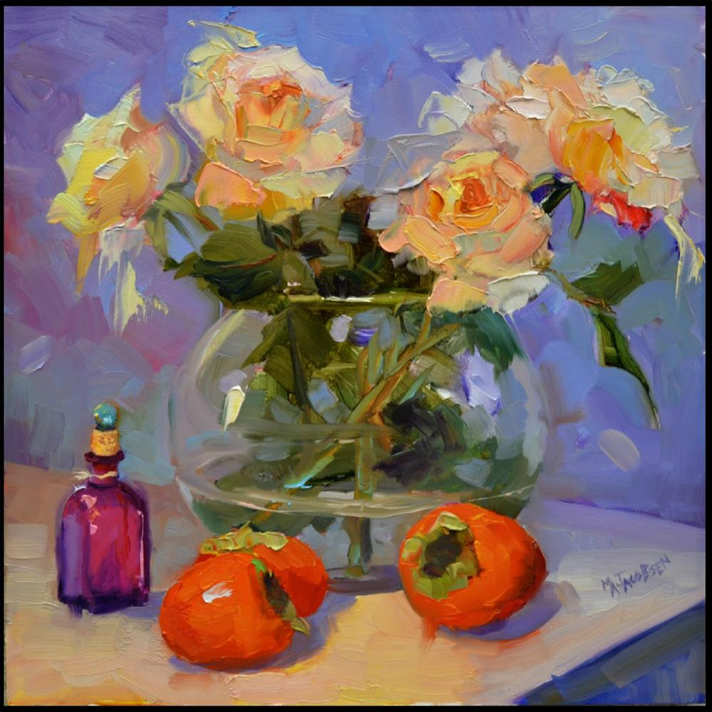 """Persimmons and Winter Roses, 12x12 , oil on board, persimmons , white roses, roses, winter fruit,"" original fine art by Maryanne Jacobsen"