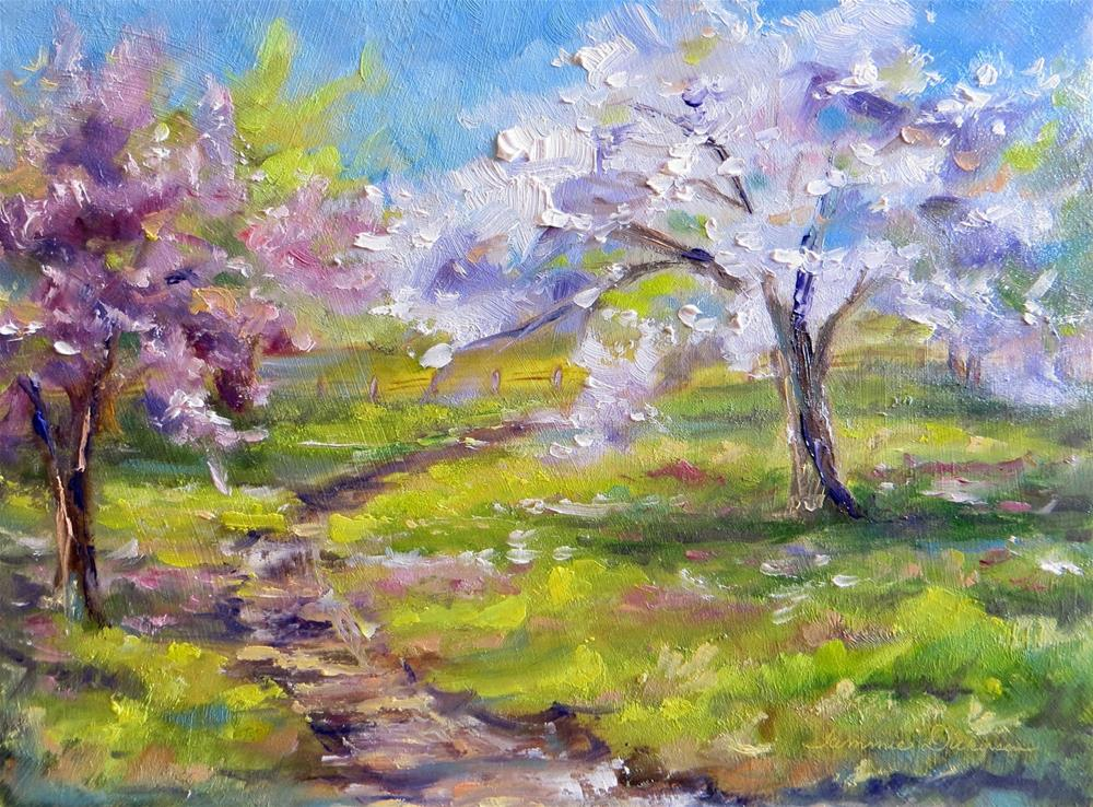 """Flowering Pear and Plum"" original fine art by Tammie Dickerson"