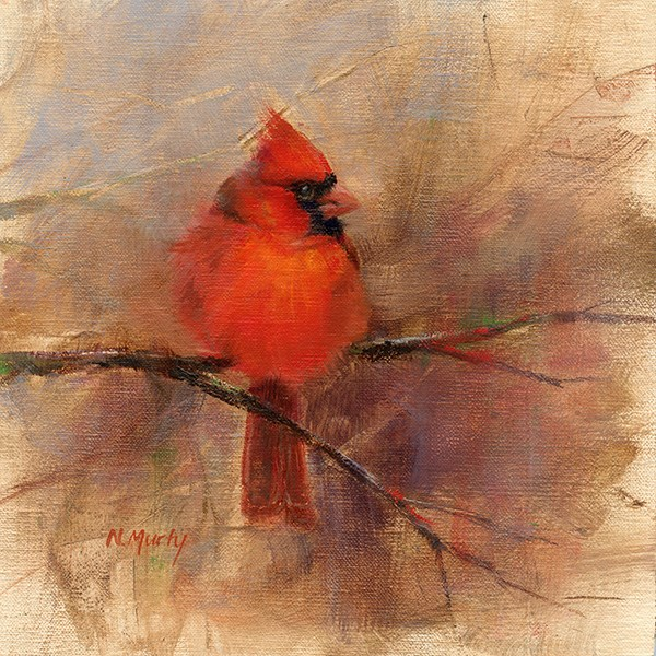 """Cardinal • 1"" original fine art by Nancy Murty"
