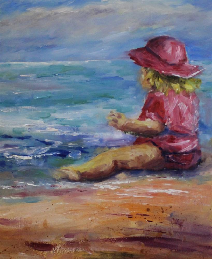 """Original oil painting children baby girl beach ocean figure painting"" original fine art by Alice Harpel"