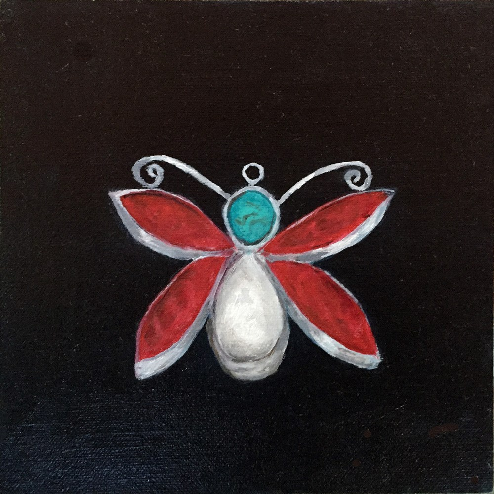 """Dragonfly Pendant"" original fine art by Dicksie McDaniel"