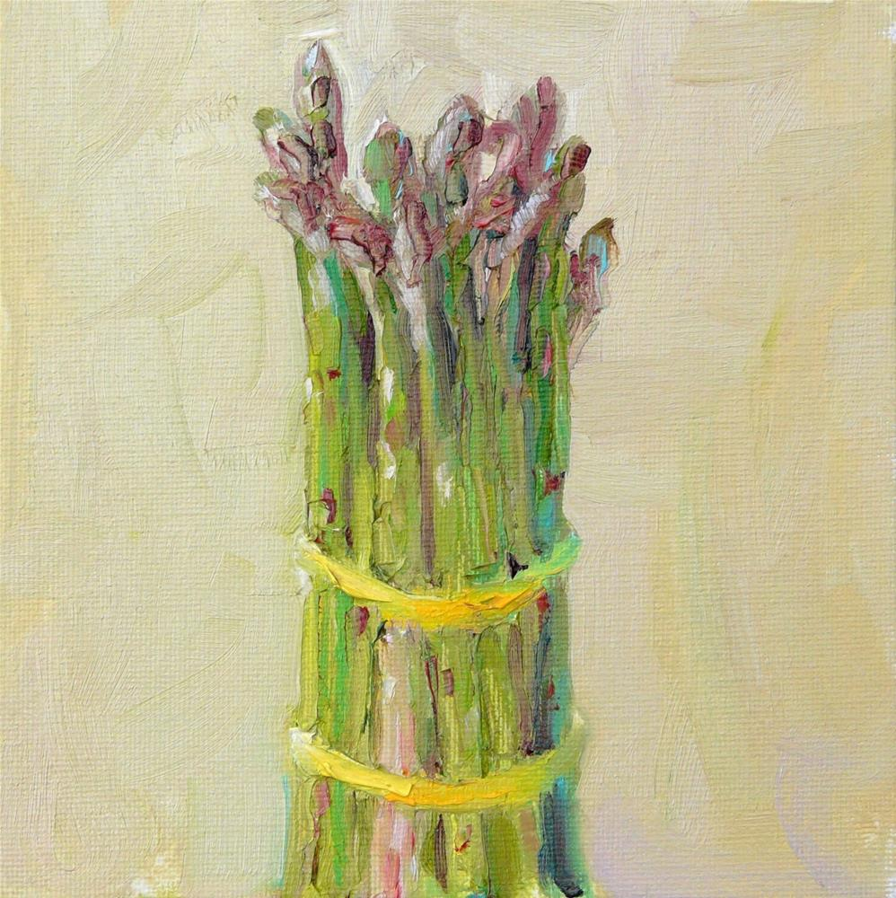 """Asparagus, still life,oil on canvas,6x6,price$100"" original fine art by Joy Olney"