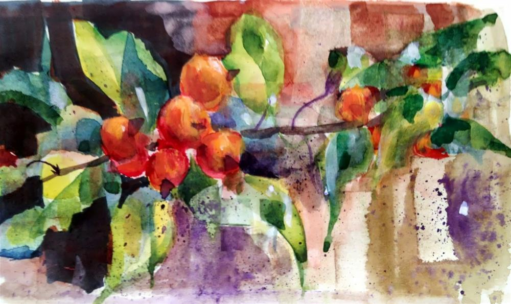 """Watercolor Fracturing - Crabapples #2"" original fine art by Julie Ford Oliver"