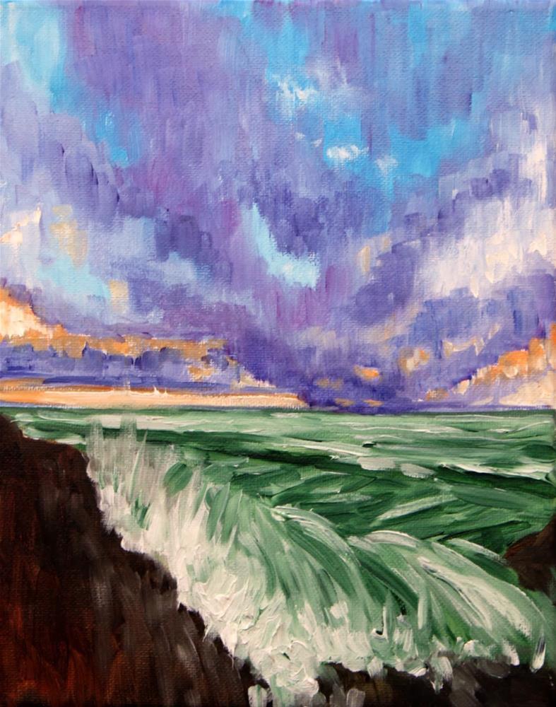 """Stormy waves breaking over rocks"" original fine art by Hilary J. England"