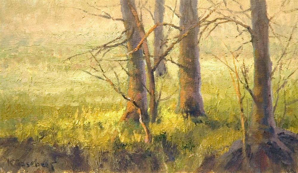 """Trees on the Bank"" original fine art by Kim Casebeer"