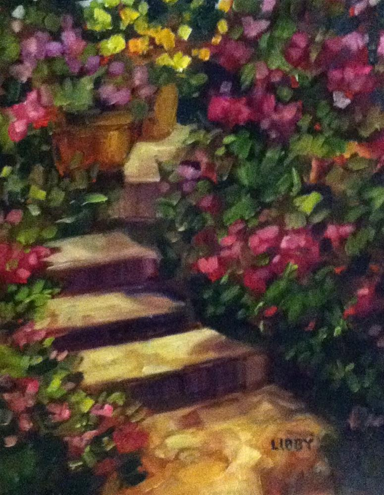 """Garden Stairs"" original fine art by Libby Anderson"
